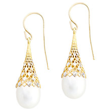 Buy A B Davis 9ct Gold Honeycomb Drop Pearl Earrings, Gold/White Online at johnlewis.com