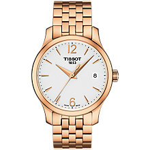 Buy Tissot T0632103303700 Women's Tradition Date Bracelet Strap Watch, Rose Gold/White Online at johnlewis.com