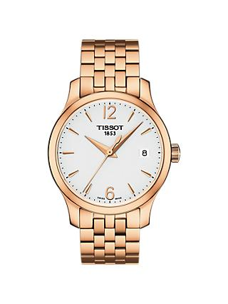 Tissot T0632103303700 Women's Tradition Date Bracelet Strap Watch, Rose Gold/White