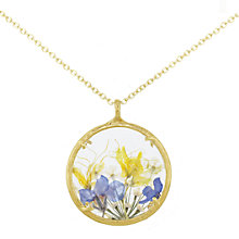 Buy Catherine Weitzman 18ct Gold Plated Large Wildflowers Round Pendant Necklace, Gold/Multi Online at johnlewis.com