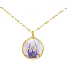 Buy Catherine Weitzman 18ct Gold Plated Small Round Hollyhock Flower Pendant Necklace, Gold/Purple Online at johnlewis.com