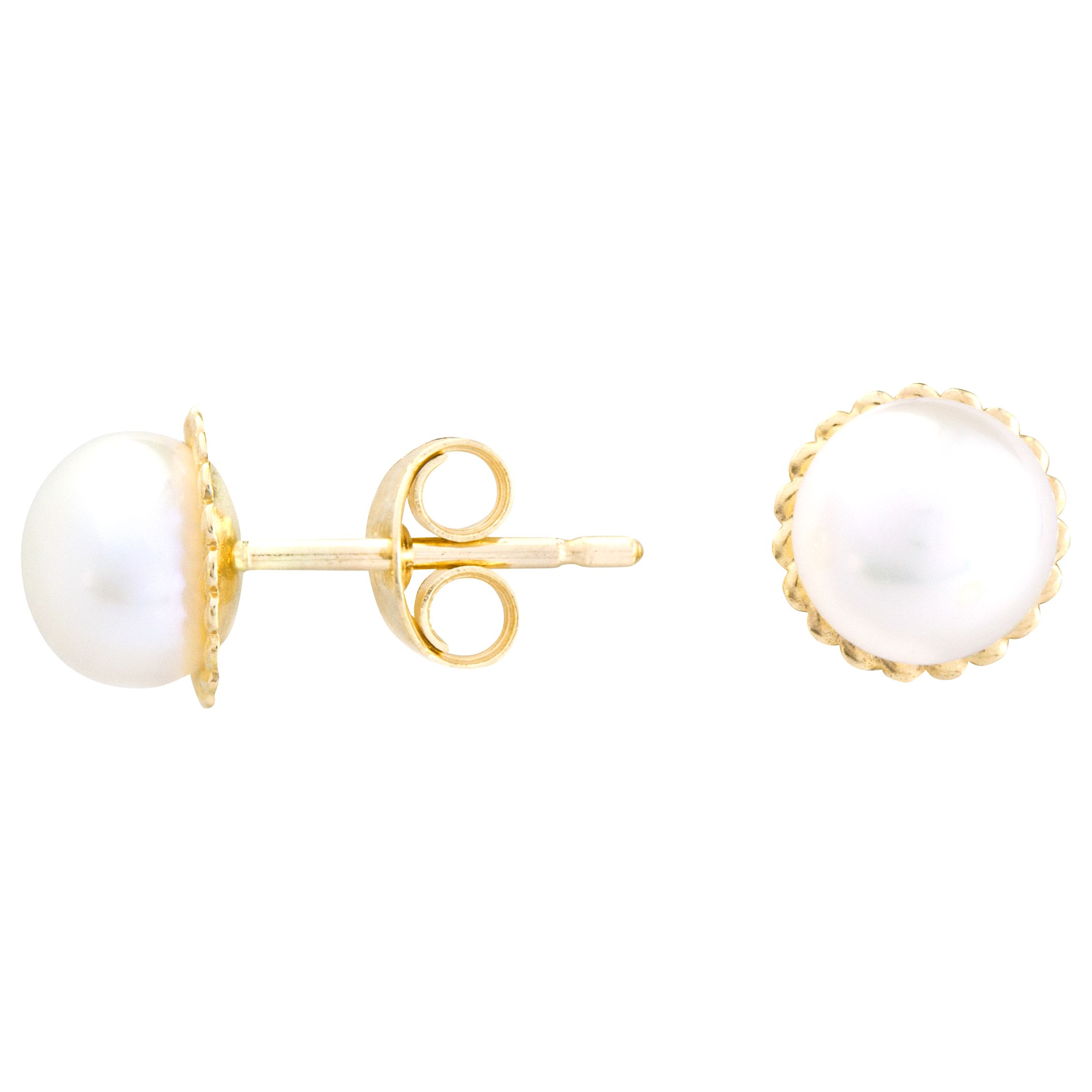 A B Davis A B Davis 9ct Gold Rope Pearl Stud Earrings, White
