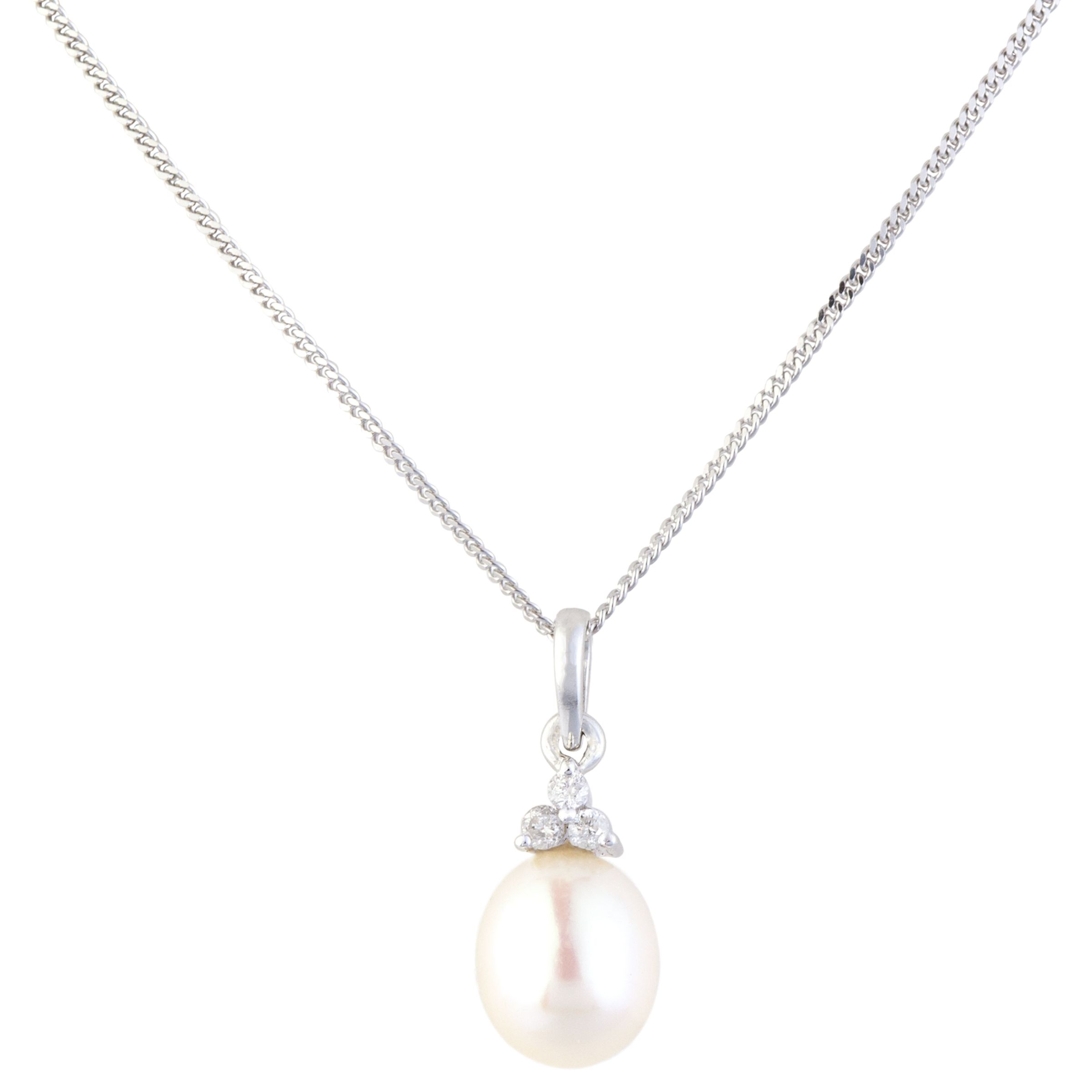 A B Davis A B Davis 9ct Gold Diamond and Pearl Pendant Necklace, White Gold