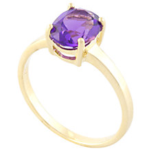 Buy A B Davis 9ct Gold Claw Set Oval Amethyst Ring, Purple Online at johnlewis.com