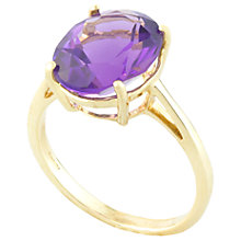 Buy A B Davis 9ct Gold 4 Claw Set Oval Amethyst Ring Online at johnlewis.com