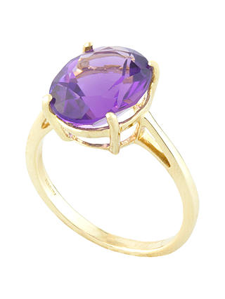 Buy A B Davis 9ct Gold 4 Claw Set Oval Ring, Amethyst, N Online at johnlewis.com