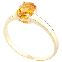 Buy A B Davis 9ct Gold Claw Set Oval Citrine Ring, Yellow Online at johnlewis.com