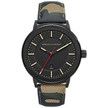 Buy Armani Exchange AX1460 Men's Date Leather Strap Watch, Multi/Black Online at johnlewis.com