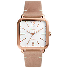 Buy Fossil ES4254 Women's Rose Gold Leather Strap Square Watch, Nude/White Online at johnlewis.com