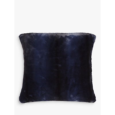 John Lewis Premium Faux Fur Cushion, Navy Stripe