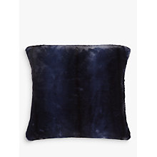 Buy John Lewis Premium Faux Fur Cushion, Navy Stripe Online at johnlewis.com