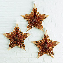 Buy Ginger Ray Gold Star Decorations, Pack of 3 Online at johnlewis.com