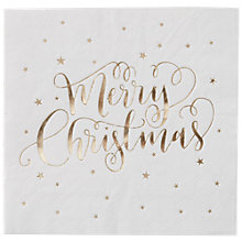 Buy Ginger Ray Merry Christmas Gold Napkins, Pack of 20 Online at johnlewis.com