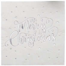 Buy Ginger Ray Silver Star Napkins, Pack of 20 Online at johnlewis.com