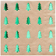 Buy Ginger Ray Green Foiled Tree Napkins, Pack of 20 Online at johnlewis.com