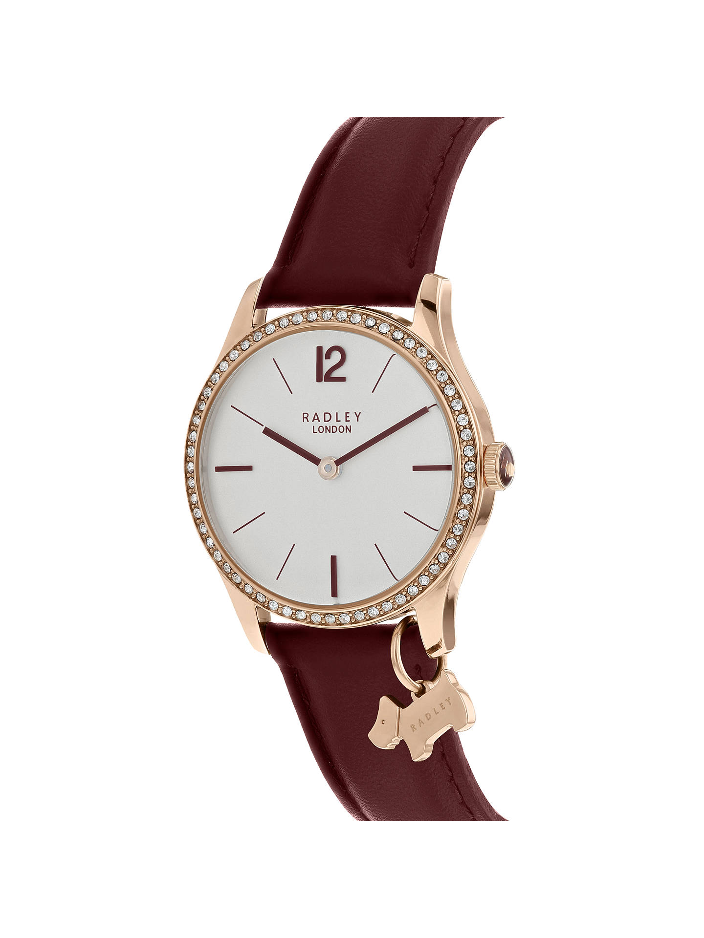 Buy Radley RY2516 Women's Millbank Leather Strap Watch, Port/White Online at johnlewis.com