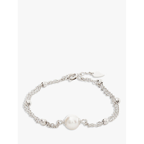 Buy Lido Pearls Double Layer Pearl Bracelet, White/Silver Online at johnlewis.com