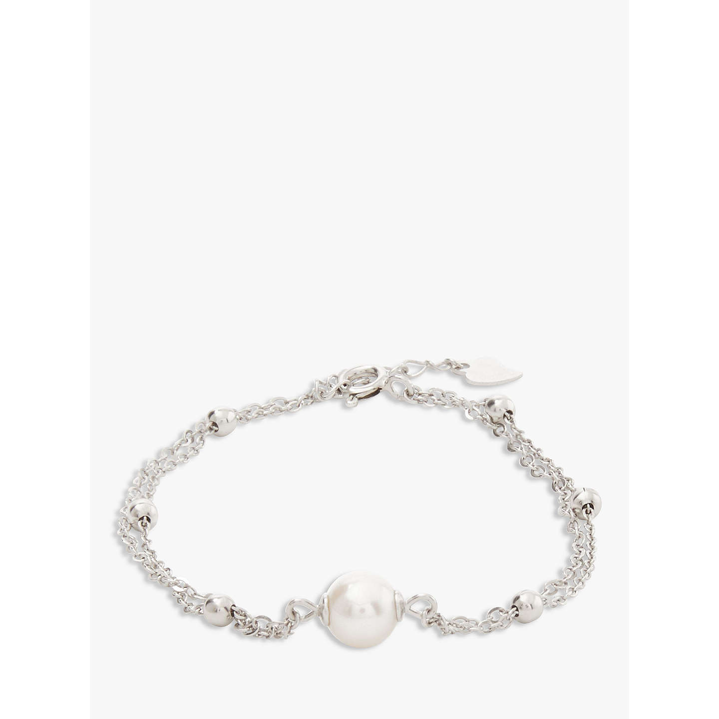 BuyLido Pearls Double Layer Pearl Bracelet, White/Silver Online at johnlewis.com