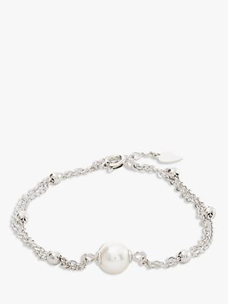 Lido Double Layer Pearl Bracelet, White/Silver
