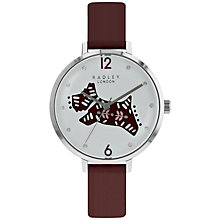 Buy Radley RY2581 Women's Folk Dog Leather Strap Watch, Port/White Online at johnlewis.com