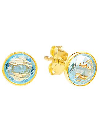 Auren 18ct Gold Vermeil Round Stud Earrings, Topaz