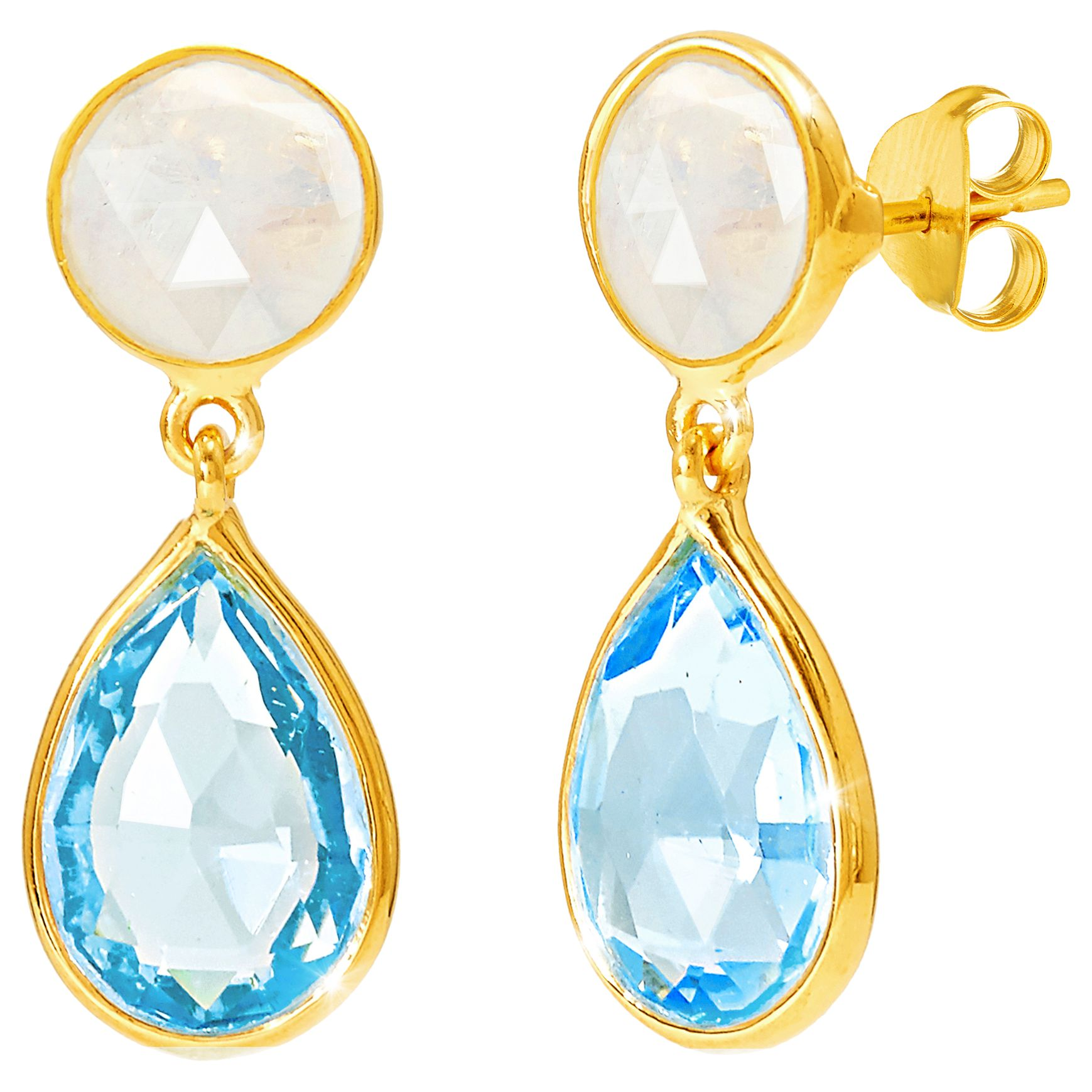 Real 18ct yellow gold plated drop earrings black moonstone teardrop gem gift bag