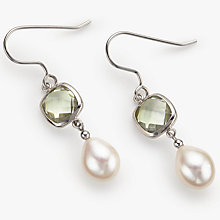 Buy Lido Pearls Amethyst Pearl Drop Earrings, Silver/Green Online at johnlewis.com