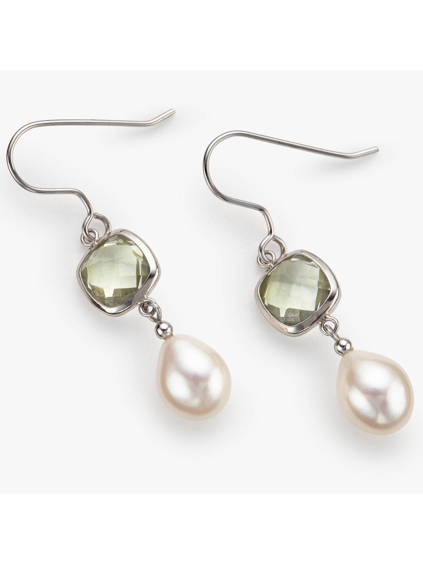 Lido Pearls Amethyst Pearl Drop Earrings Silver Green Online At Johnlewis