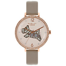 Buy Radley RY2586 Women's Folk Dog Leather Strap Watch, Grey/Cream Online at johnlewis.com