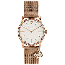 Buy Radley RY4286 Women's Millbank Mesh Bracelet Strap Watch, Rose Gold/White Online at johnlewis.com