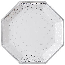 Buy Ginger Ray Silver Star Paper Plates, Pack of 8 Online at johnlewis.com