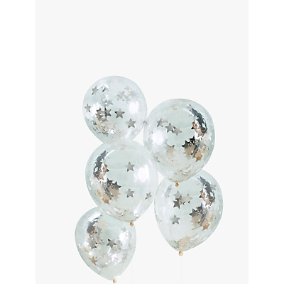 Image of Ginger Ray Star Silver Confetti Balloons, Pack of 5
