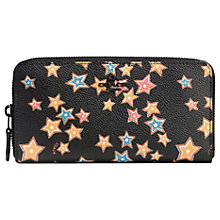 Buy Coach Accordian Leather Print Zip Purse, Black Stars Online at johnlewis.com