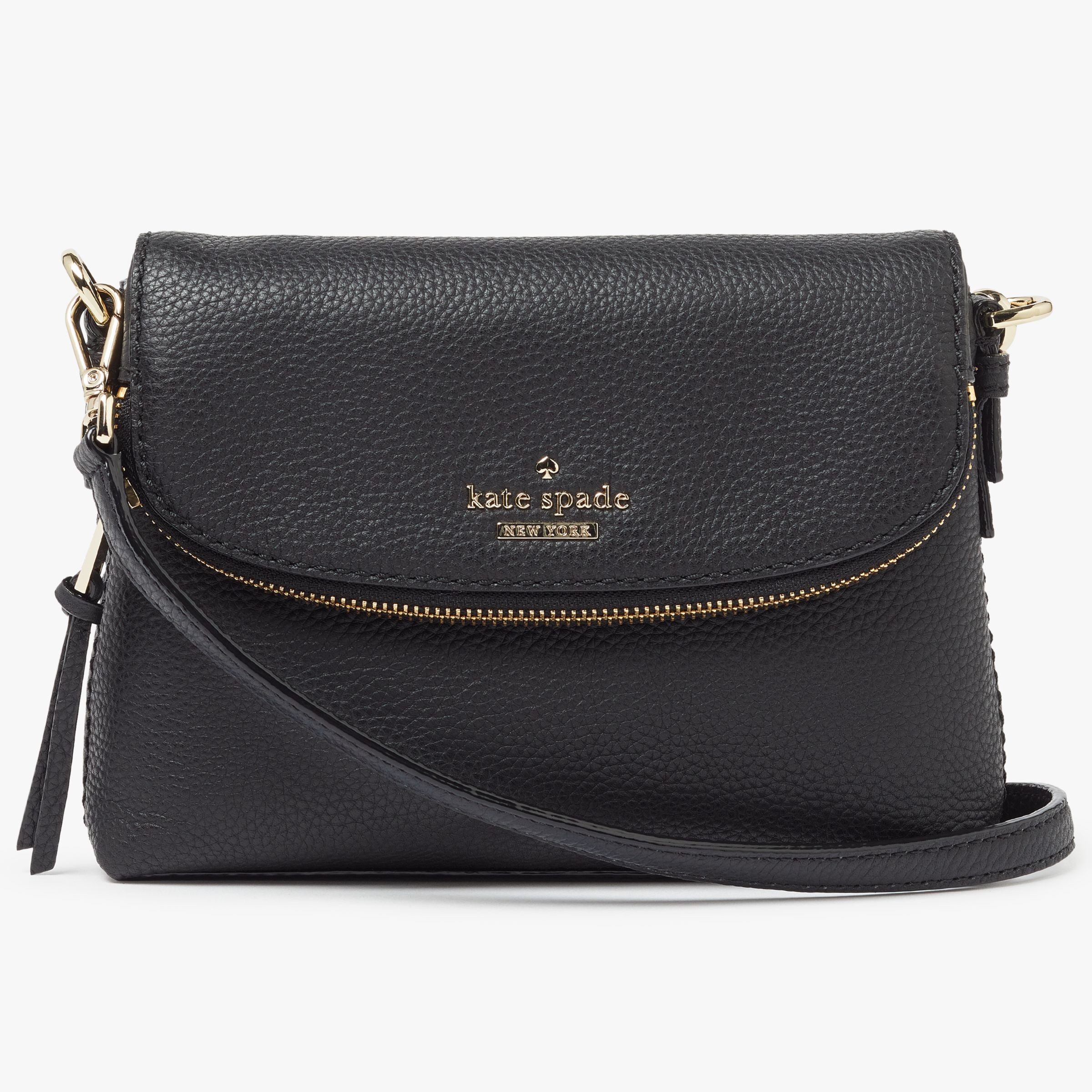 bd111941c kate spade new york Jackson Street Harlyn Small Leather Cross Body Bag,  Black at John Lewis & Partners