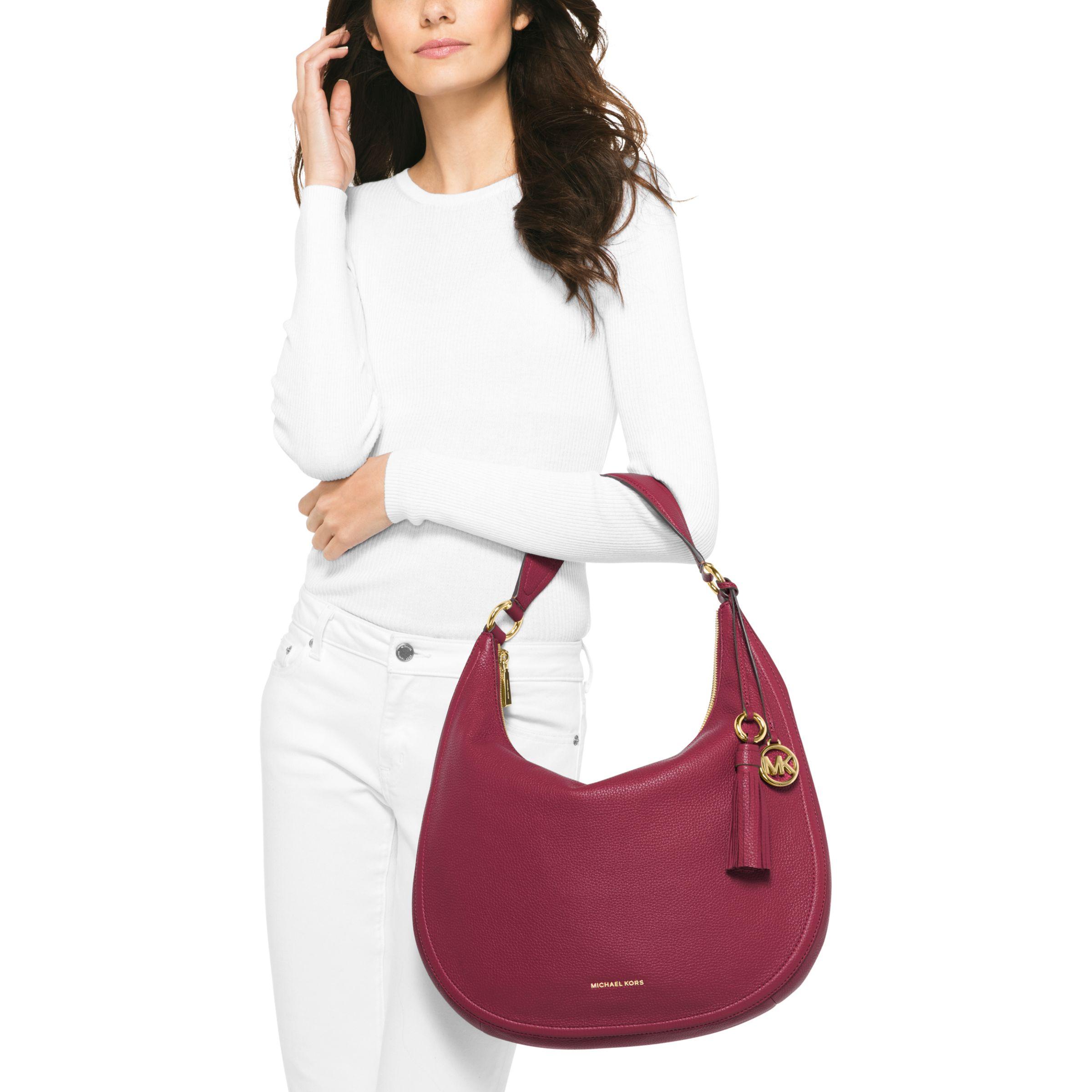 2191dfb7f3de MICHAEL Michael Kors Lydia Large Hobo Bag, Mulberry at John Lewis & Partners
