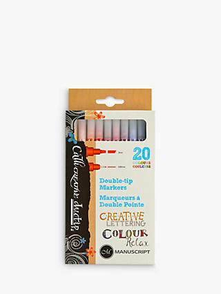 Manuscript Callicreative Coloured Double-Tip Marker Pens, Pack of 20