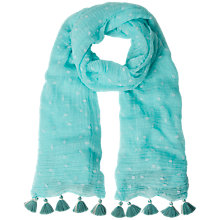Buy White Stuff Flocked Print Scarf, Green Online at johnlewis.com