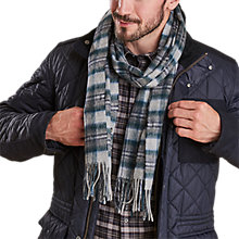 Buy Barbour Defender Tartan Scarf, Grey/Multi Online at johnlewis.com