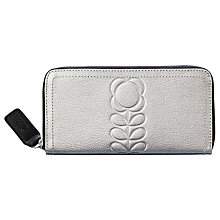 Buy Orla Kiely Embossed Stem Leather Zip Around Purse, Silver Online at johnlewis.com