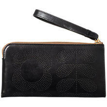 Buy Orla Kiely Punch Tall Flower Leather Wristlet Purse, Black Online at johnlewis.com