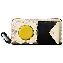 Buy Orla Kiely Flower Pocket Leather Big Zip Purse, Light Gold Online at johnlewis.com