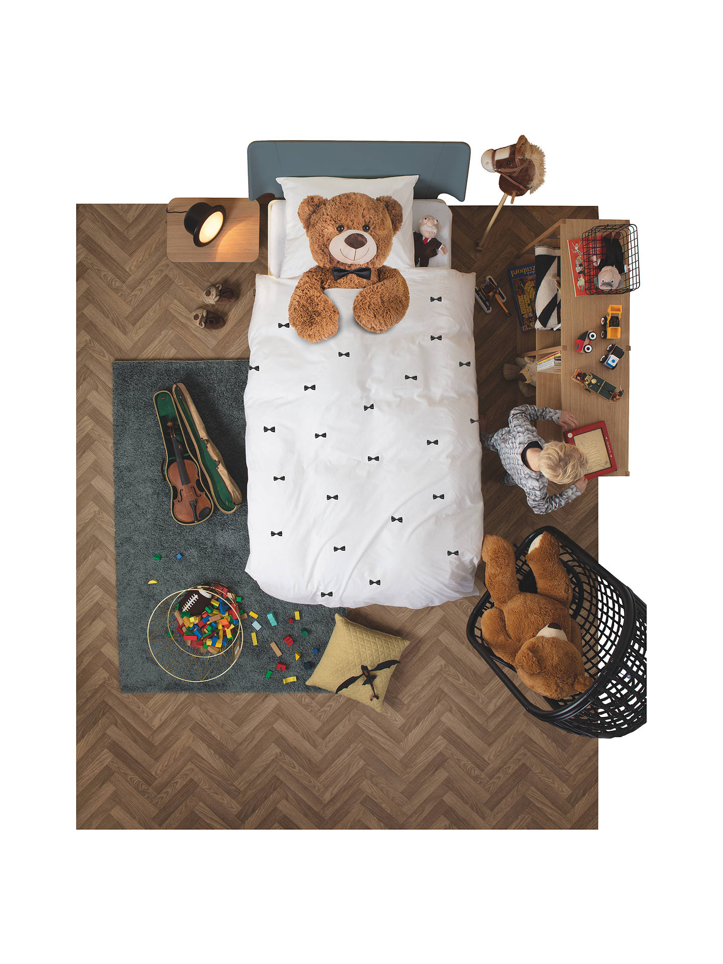 snurk teddy bear duvet cover and pillowcase set single at. Black Bedroom Furniture Sets. Home Design Ideas