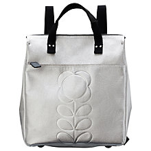 Buy Orla Kiely Embossed Stem Leather Backpack, Silver Online at johnlewis.com