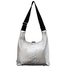 Buy Orla Kiely Embossed Stem Leather Shoulder Bag, Silver Online at johnlewis.com