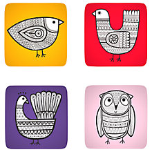 Buy Jane Foster Scandi Linea Bird Coasters, Set of 4, Assorted Online at johnlewis.com