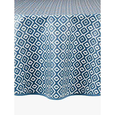 John Lewis & Partners Nazca Wipeable Round Tablecloth, Blue, Dia.180cm