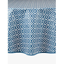 Buy John Lewis Nazca Wipe Clean Round Tablecloth, Blue, Dia.180cm Online at johnlewis.com