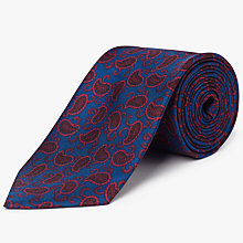 Buy John Lewis Paisley Woven Silk Tie, Navy/Burgundy Online at johnlewis.com