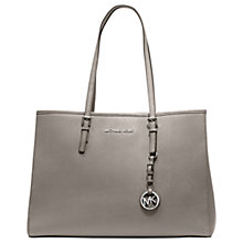 Buy MICHAEL Michael Kors Jet Set Travel East/West Large Leather Tote Bag, Pearl Grey Online at johnlewis.com