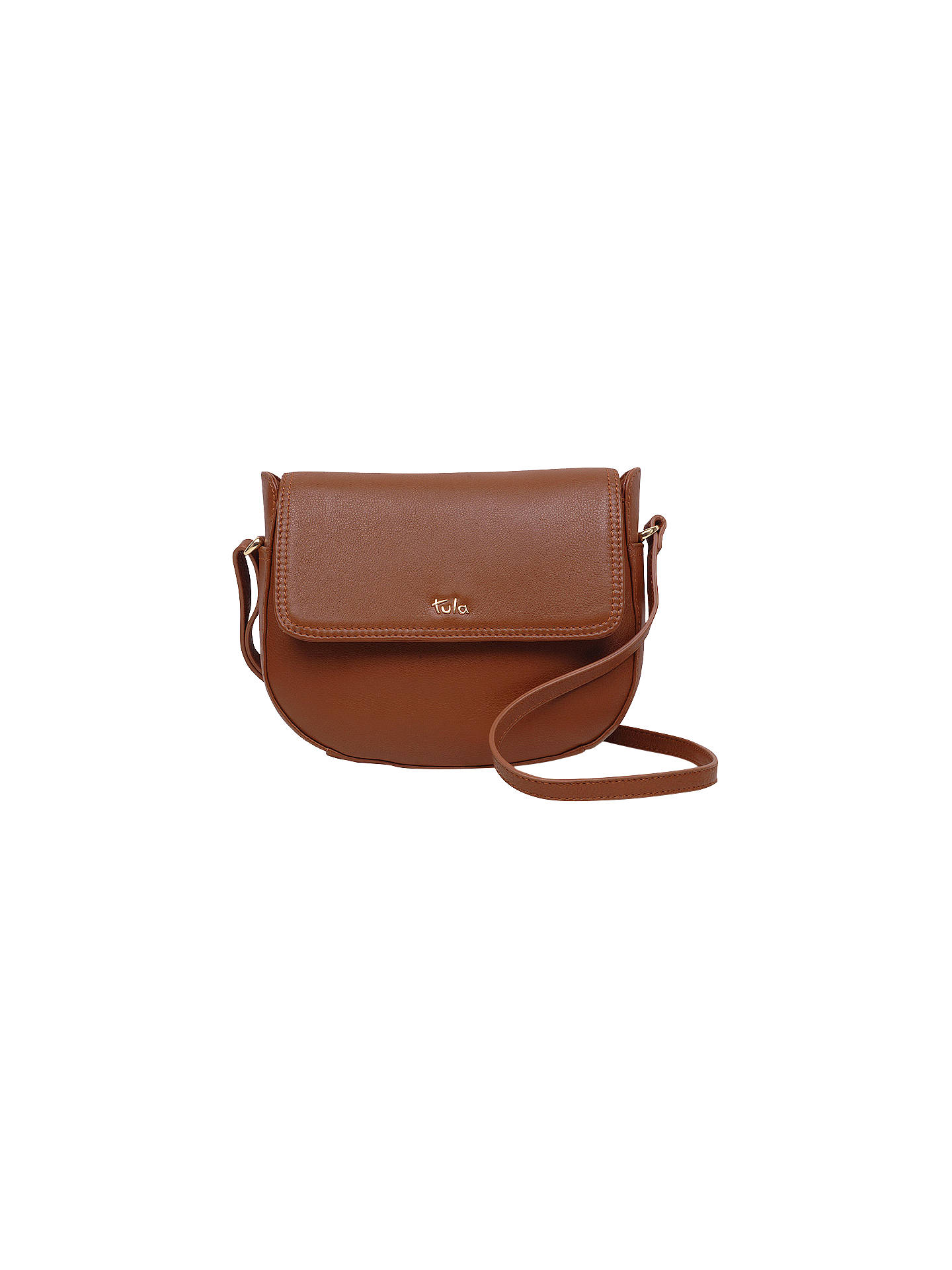 BuyTula Originals Leather Medium Curved Cross Body Bag, Tan Online at johnlewis.com